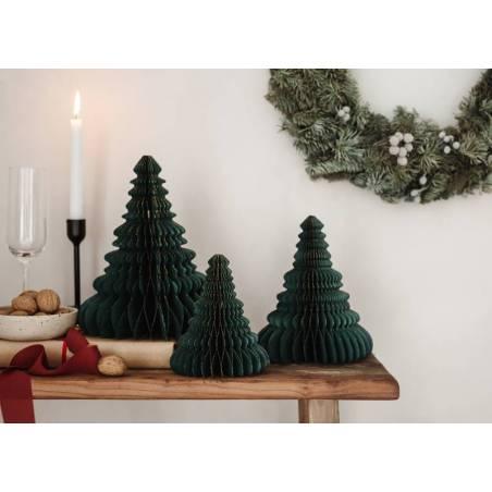 Décoration en papier alvéolé pour l'arbre de Noël, vert bouteille, 15cm