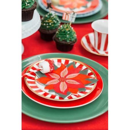 Serviettes de table Etoile rouge de Bethléem mélange 14.5x15.5cm