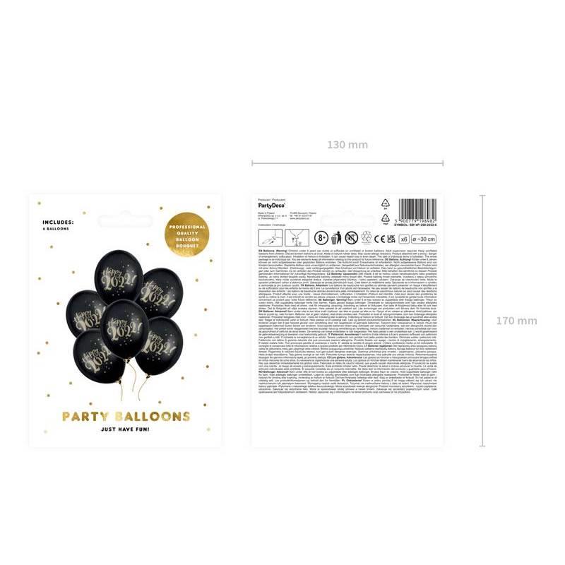 Ballons 30cm Happy 2022 Pastel Black