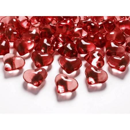 Coeurs en cristal rouge 21mm