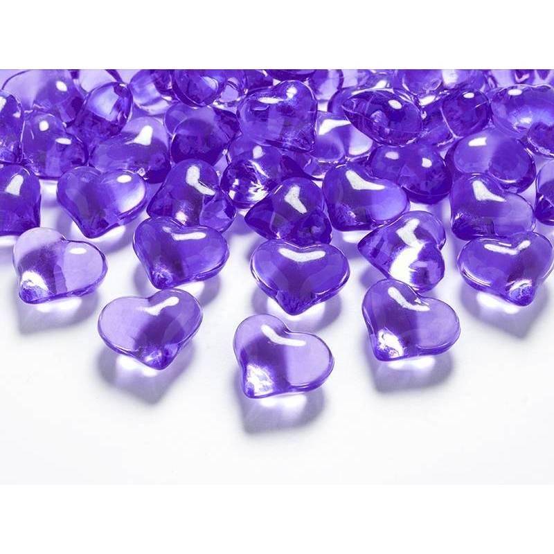 Coeurs en cristal violet 21mm