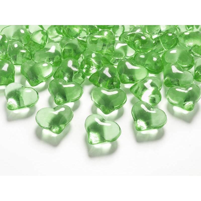 Coeurs en cristal vert clair 21mm