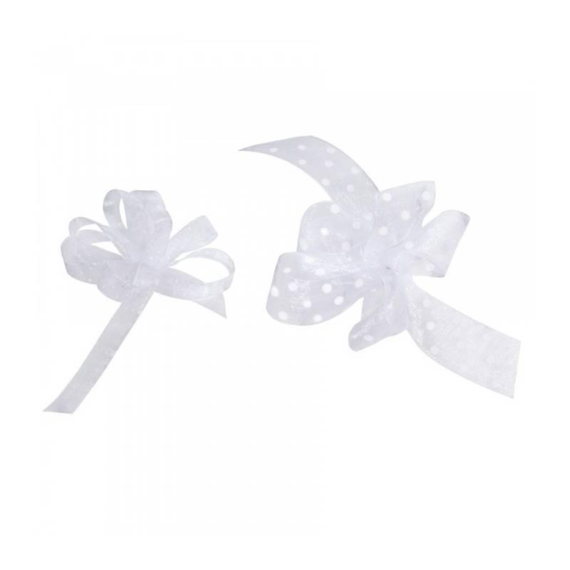Ruban voile à pois 25 mm - Couleur blanc