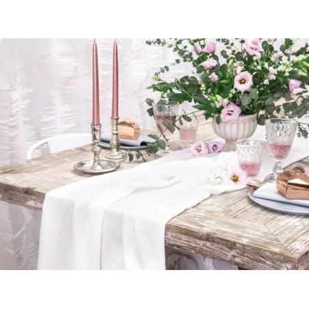 Chemin de table en mousseline crème légère 070x5m