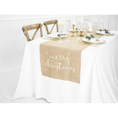 Chemin de table en jute Joyeux Noël blanc 50x250cm