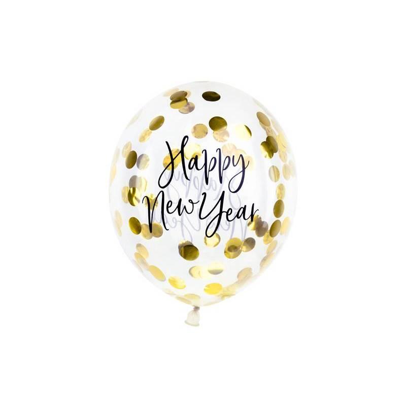 Ballons à confettis - Bonne année 30cm or
