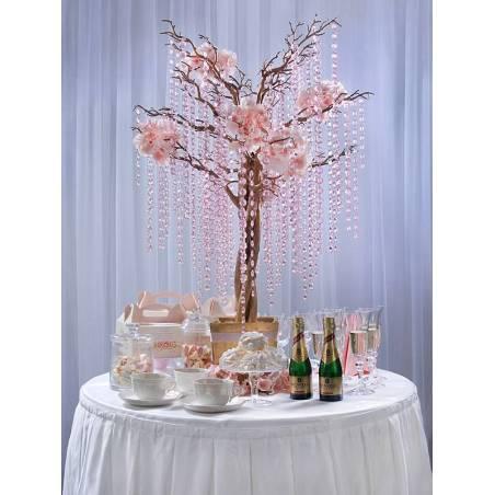 Guirlande de cristal rose clair 1m