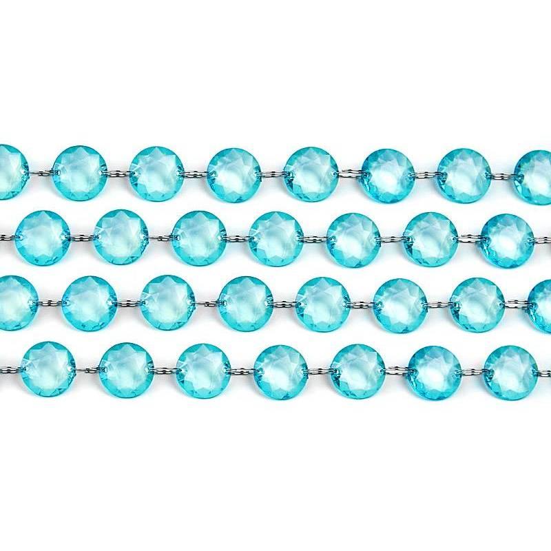 Guirlande de cristal turquoise 1m