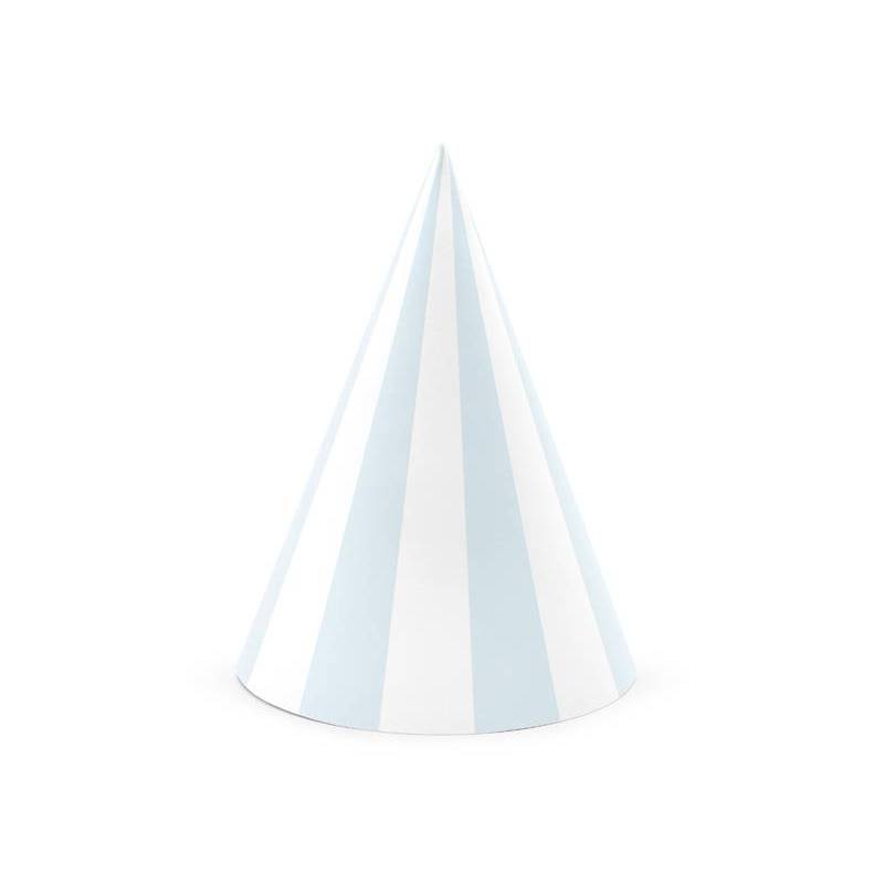 Chapeaux de fête rayés bleu clair 10cm