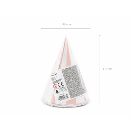 Chapeaux de fête rayés rose pâle 10cm