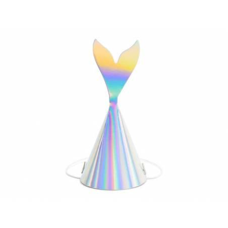 Chapeaux de fête sirène irisé 18cm