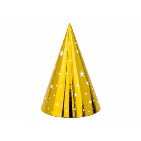 Chapeaux de fête Stars or 16cm