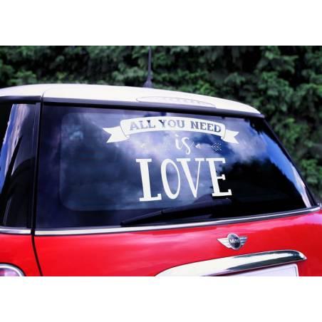 Autocollant Voiture de mariage - Tout ce dont vous avez besoin est amour 33x45cm