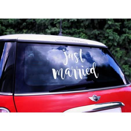 Autocollant de voiture de mariage - Juste marié 33x45cm