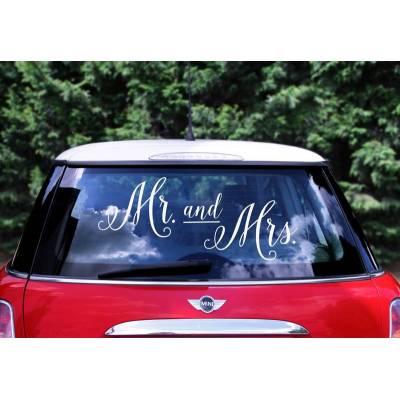 Autocollant de voiture de mariage - M. et Mme