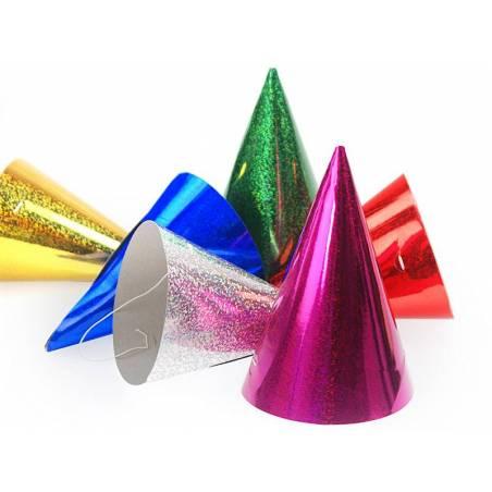 Chapeaux de fête holographiques mélange 10cm