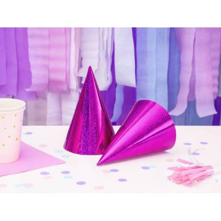 Chapeaux de fête holographiques rose foncé 10cm