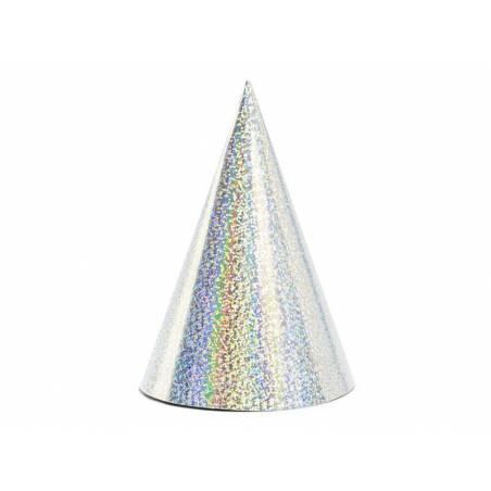 Chapeaux de fête holographiques argent 10cm