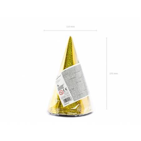 Chapeaux de fête holographiques or 10cm