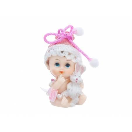 Figurine Fille avec un lapin 6cm