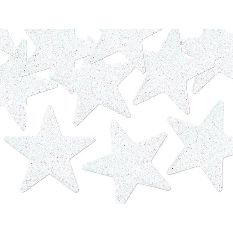 Décorations scintillantes étoile blanc 5cm