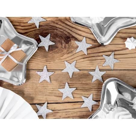 Décorations pailletées étoile argent 5cm
