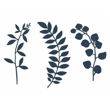 Branche avec décor de feuilles d. bleu marine