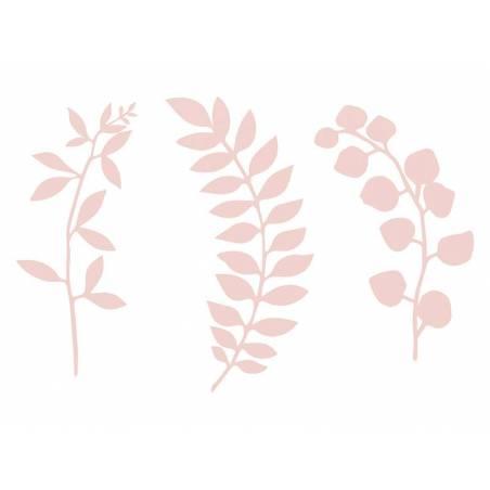 Branche avec décor de feuilles rose poudré