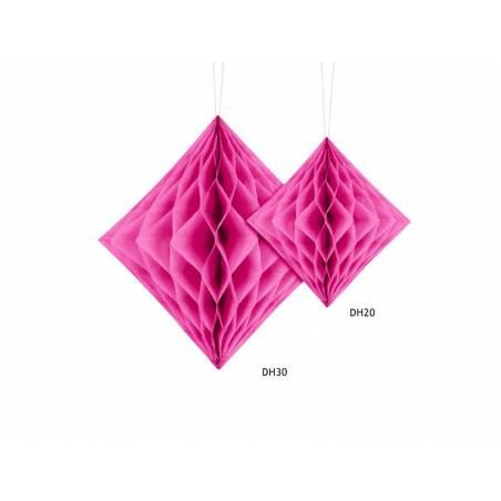 Diamant en nid d'abeille rose foncé 20cm