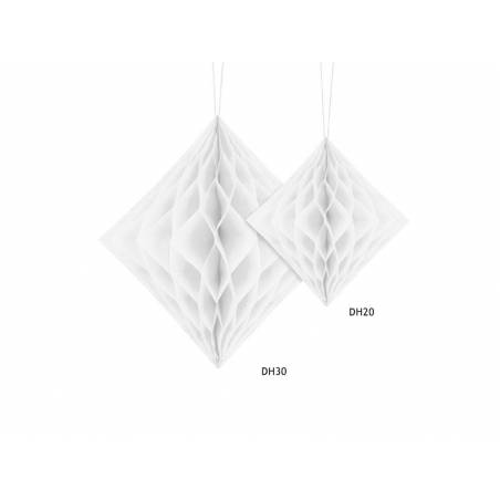 Diamant en nid d'abeille blanc 20cm