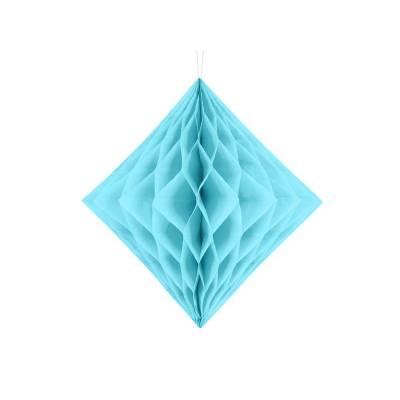 Diamant en nid d'abeille bleu ciel 20cm