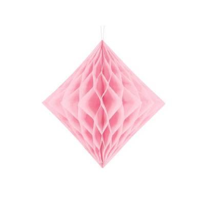 Diamant nid d'abeille rose clair 20cm