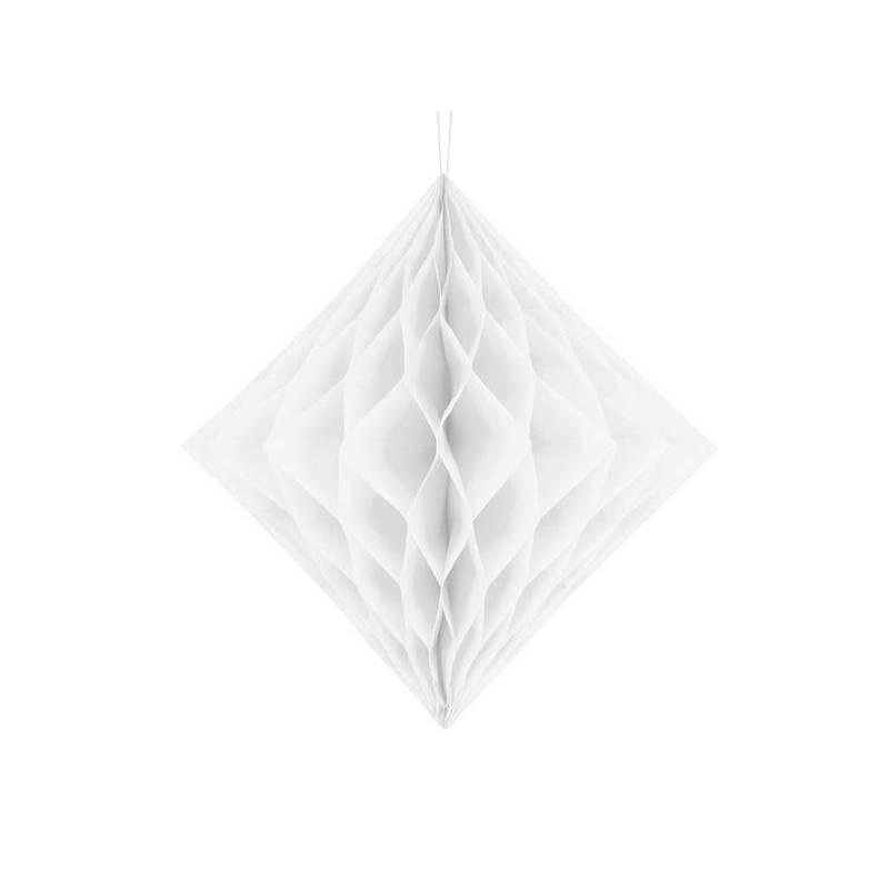 Diamant en nid d'abeille blanc 30cm