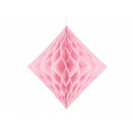 Diamant en nid d'abeille rose clair 30cm