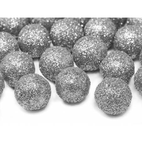 Décorations pailletées Boule argent 2cm