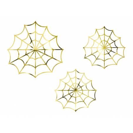 Décorations en papier - toiles d'araignées or