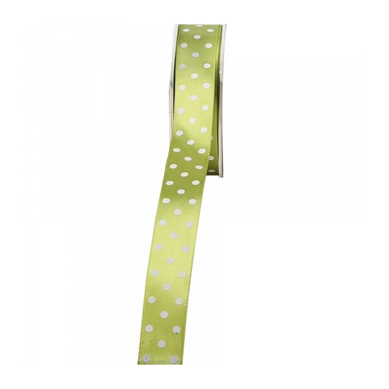 Ruban satin à pois 23 mm - Couleur vert