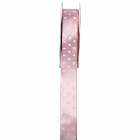 Ruban satin à pois 23 mm - Couleur rose