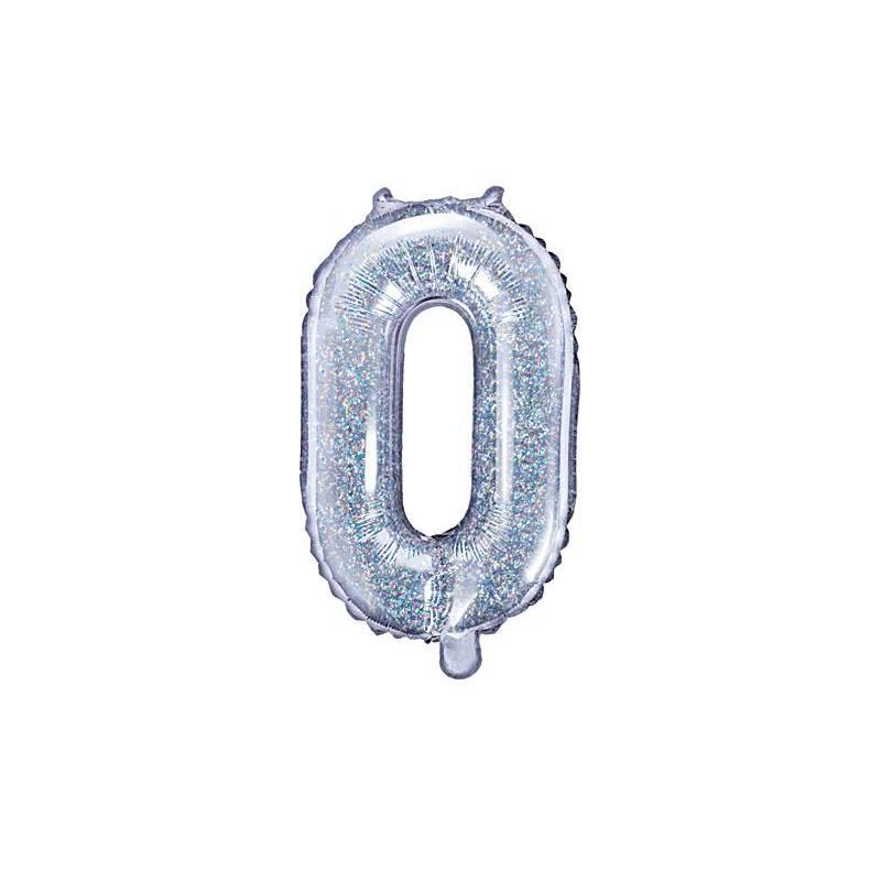 Ballon en aluminium numéro 0 35cm holographique