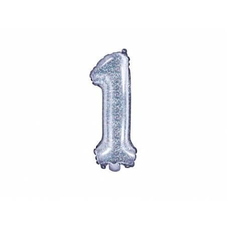 Ballon en aluminium numéro 1 35cm holographique