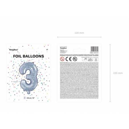 Ballon en aluminium numéro 3 35cm holographique