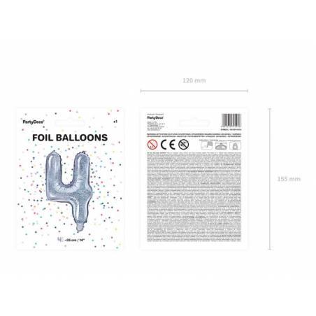 Ballon en aluminium numéro 4 35cm holographique