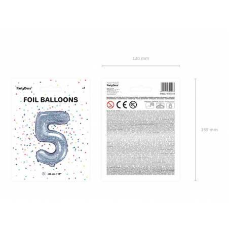 Ballon en aluminium numéro 5 35cm holographique