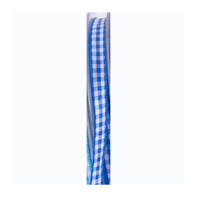 Ruban vichy 6 mm - Couleur bleu