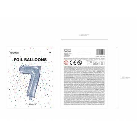 Ballon aluminium numéro 7 35cm holographique