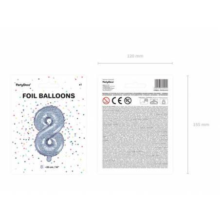Ballon en aluminium numéro 8 35cm holographique