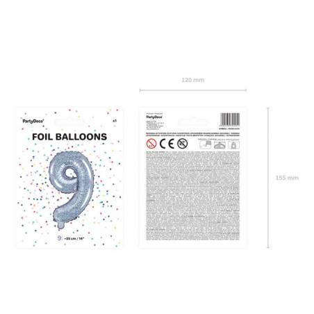 Ballon en aluminium numéro 9 35cm holographique