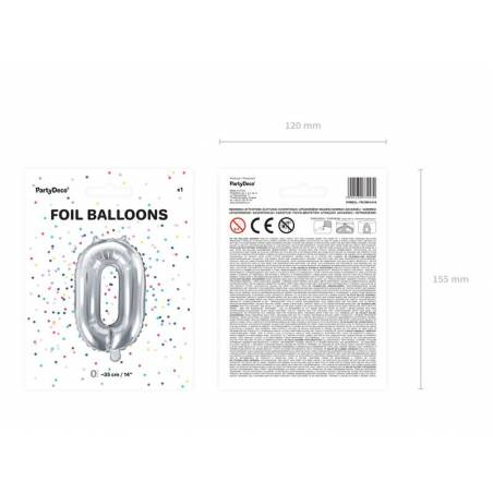 Foil Ballons Number 0 35cm silver