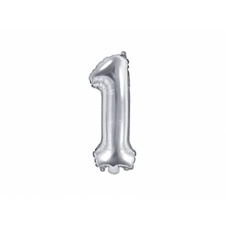 Ballon d'aluminium numéro 1 35cm argent