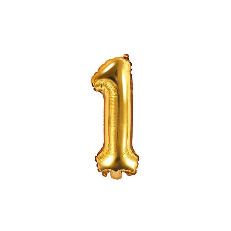 Ballon d'aluminium numéro 1 35cm doré